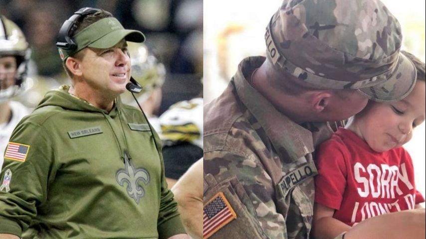 buy popular e443a 3d12e Sean Payton sends 'Salute to Service' hoodie to deployed ...